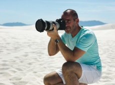 Shooting something(or maybe just pretending to... I really can't be sure) at White Sands